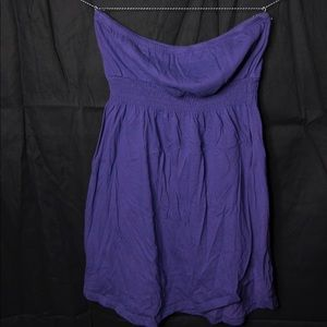 Purple Strapless Mini Skater Dress